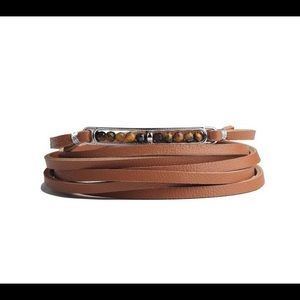 Tigerstone leather bracelet wrap
